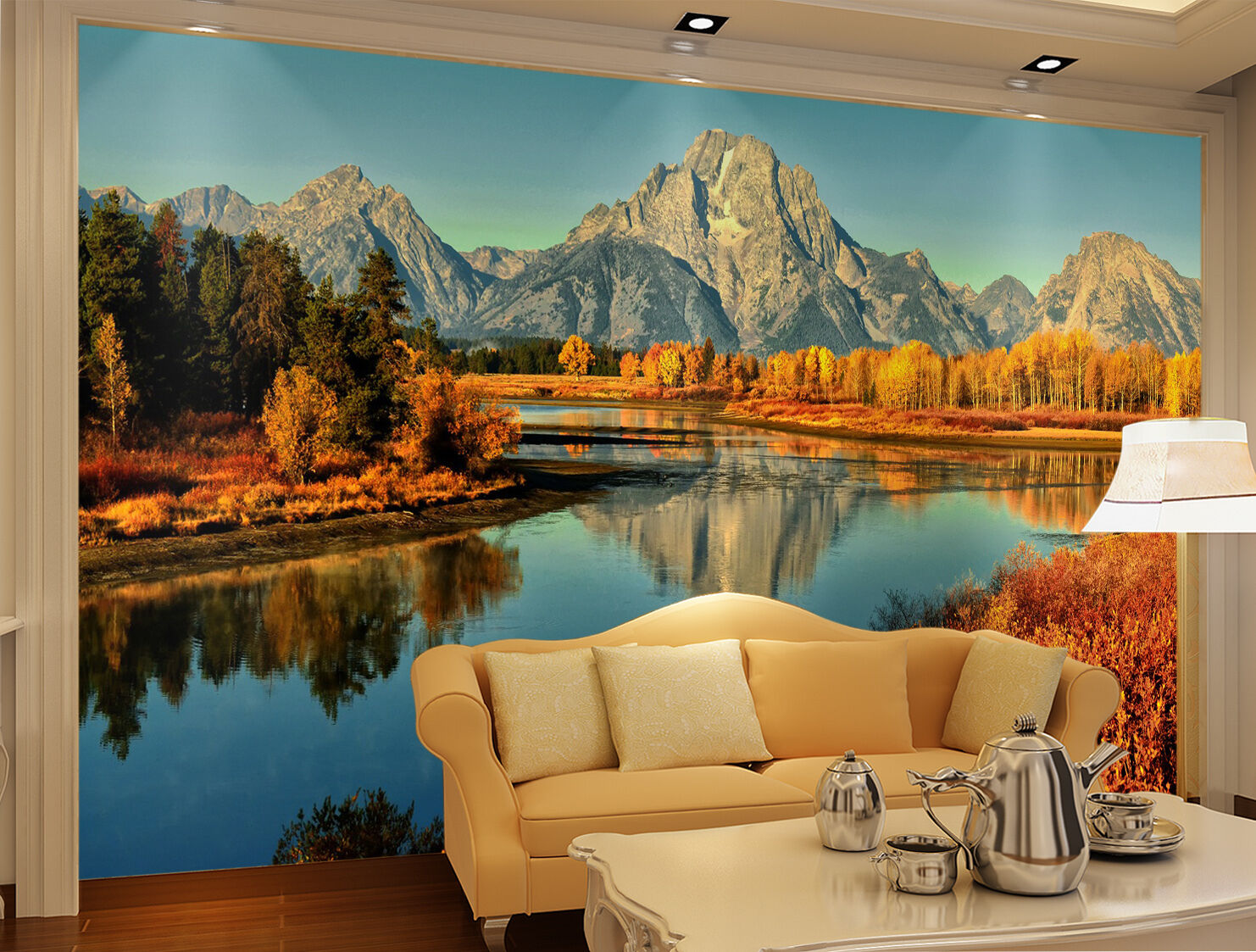 3D Mountain lakes trees Wall Paper Print Decal Wall Wall Wall Deco Indoor wall Mural ce5d38