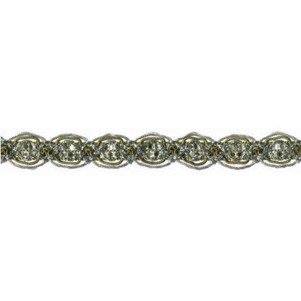 3,37€//m Prym Häkelborte 1,5m  14mm grün//silber 916603