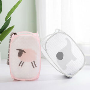 Foldable Laundry Basket Bin Washing Clothes Bag Hamper Mesh Storage Bags Cool Ebay