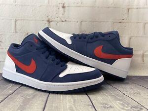 Diplomático saltar Recepción  Nike Air Jordan 1 Low SE Navy Blue Red White USA Shoes CZ8454-400 Men's  Size 12 | eBay