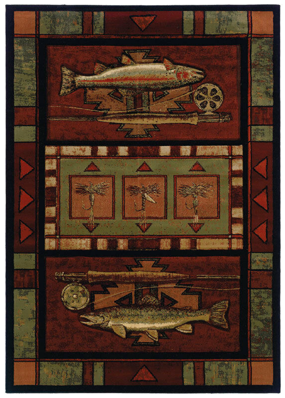 Southwestern Terracotta Border Carpet 3x8 Fish Area Rug   Actual 2' 7  x 7' 6