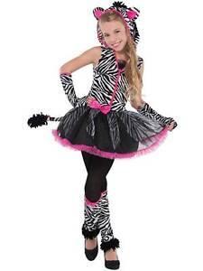 Teen-Girls-Sassy-Stripes-Zebra-Fancy-Dress-Tutu-Halloween-Costume-Age-8-16