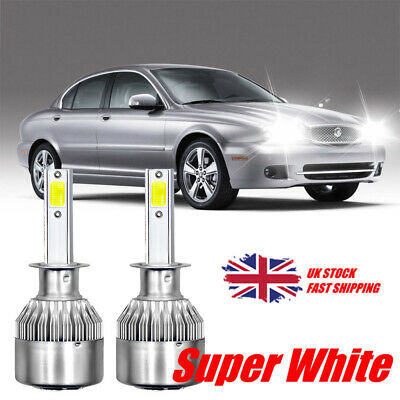 For Jaguar X-Type 2001-09 Low Dipped Beam H1 Bright LED Headlight Bulb Pair Lamp