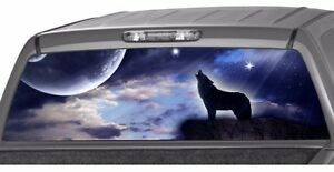 1 X HOWLING WOLF Moon Planet Stars Rear Window Graphic Decal Tint Stickers Truck