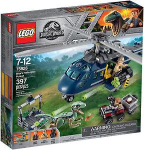Poursuite de Lego Jurassic World sur l'hélicoptère bleu - 75928
