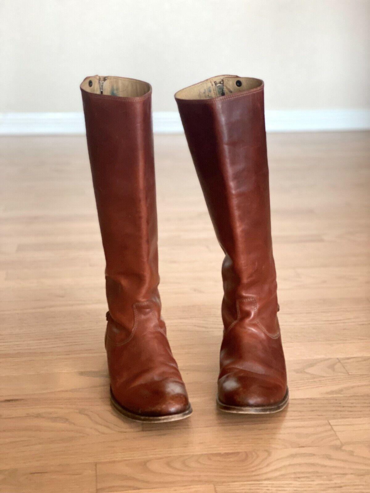 Frye Melissa Button Back-Zip Tall Boots (Cognac, Women Sz 8.5)