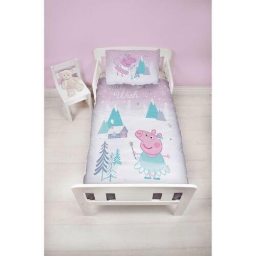 Peppa Pig Sugarplum Christmas Cotbed Duvet Cover Pillowcase Bedding Set Xmas
