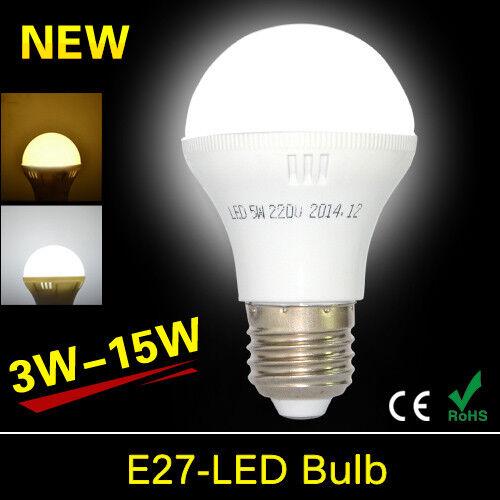 E27 LED Bulb 3W 5W 7W 9W 12W 15W Energy Saving Light Cool //Warm White 220-240V