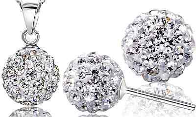 Sterling Silver Red Disco Ball Pendant Necklace Drop Earrings Set Chain Box F16