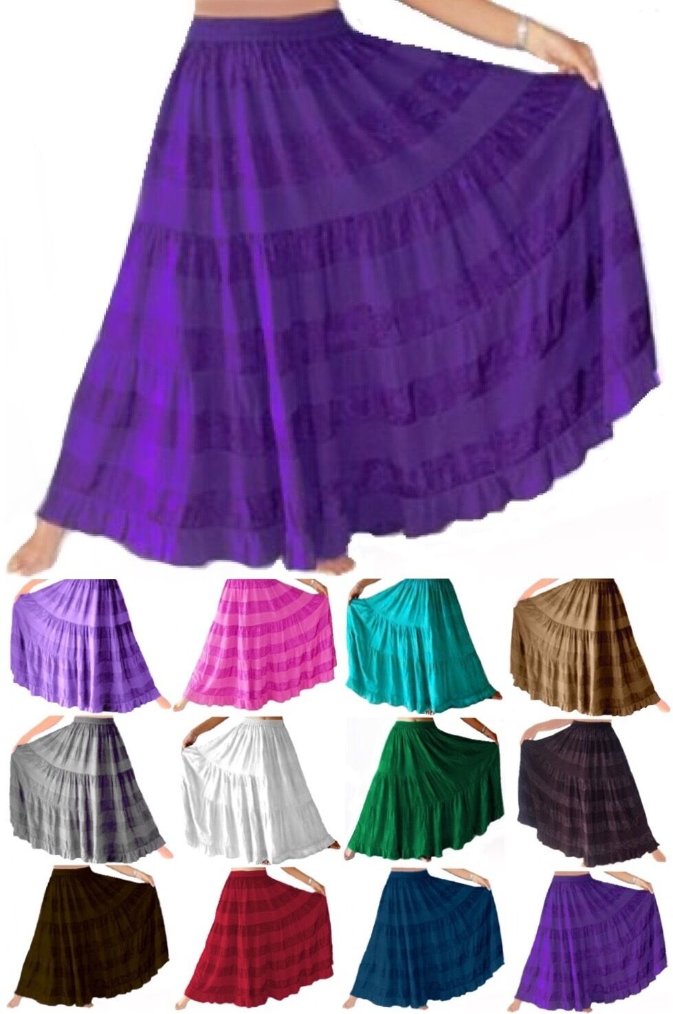 LotusTraders FASHION PLUS MAXI SKIRT TIERED ELASTIC WAIST MADE TO ORDER A603