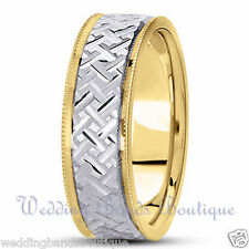 18K TWO TONE YELLOW WHITE GOLD WEDDING BAND MEN'S MANS MILGRAIN EDGES RING 7mm