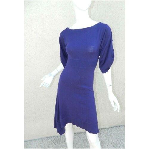 Karen Millen Dress Purple Sweater Knit Asymmetric