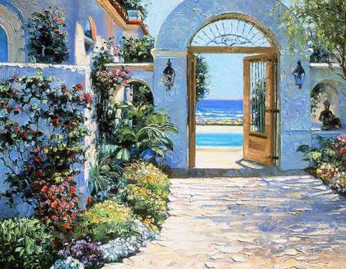 Howard Behrens Hotel California Mediterranean Spain Cityscape Canvas 27x21