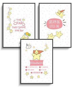Details Zu Bild A4 Poster 3er Set Sterne 2 Mädchen Spruch Geburt Taufe Geschenk Baby Kind