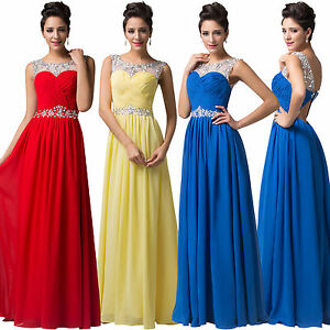 Women Long Chiffon Evening Dress Bridesmaid Dresses Prom Formal Party Ball Gown