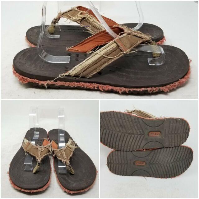 Crocs Melbourne Tan Hawaiian Slip On Flip Flop Slides Sandal Women's Size 11 M