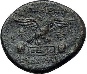 APAMEIA-PHRYGIA-88BC-Athena-Gemini-Caps-Eagle-Original-Ancient-Greek-Coin-i68071