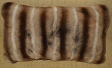 Real Genuine Rex Rabbit Fur Pillow Dyed  Brown Chinchilla cushion New USA made
