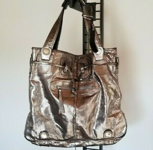 GUSTTO-Women-039-s-Large-Satchel-Metallic-Leather-Double-Strap-Drawstring-Bag-YJ01