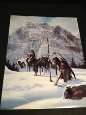 "Tracker In Snow Picture Print Large 16"" X 20"" New In Lithograph"