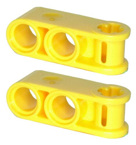 Brique lego manquant 42003 jaune x 2 Technic essieu menuisier perpendiculaire avec 2 Hol