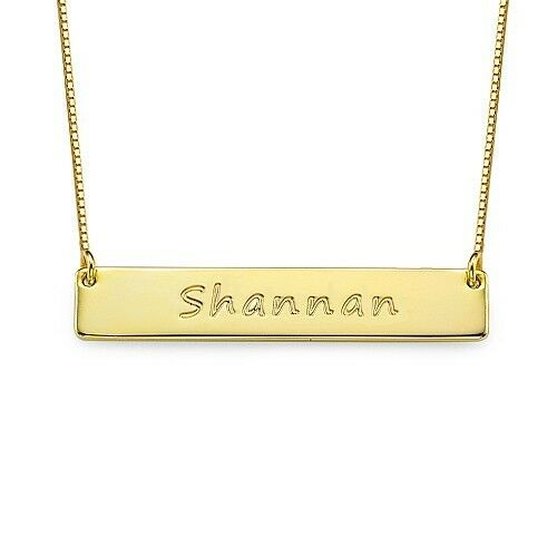 18k Yellow Gold Plated Engraved Bar Necklace / Bar Name Necklace in Gold Plating
