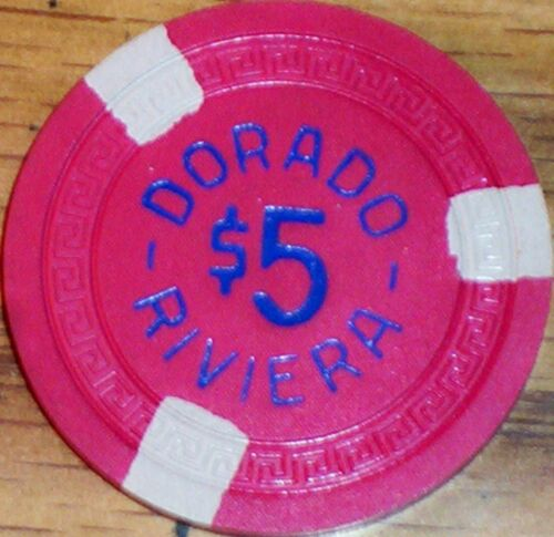 $5 DORADO RIVIERA Casino Poker Chip Vintage Antique Small Key Puerto Rico Rare