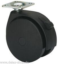 Möbelrolle Platte 80 mm Weichbodenrolle für Teppich Schwerlastrolle mit Bremse