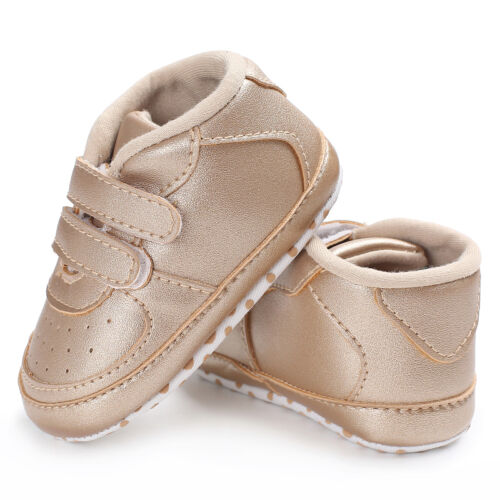 Newborn Baby Boy Girl Faux Leather Crib Shoes Toddler Pre Walker Sneakers 0-18 M