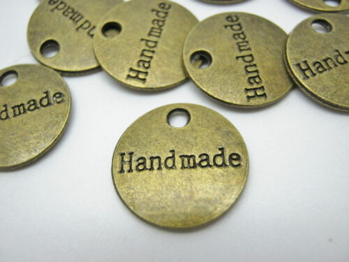 """10 Handmade Label Metal Charms Tags 15mm 5//8/"""" Bronze Handmade Crafts Labels"""