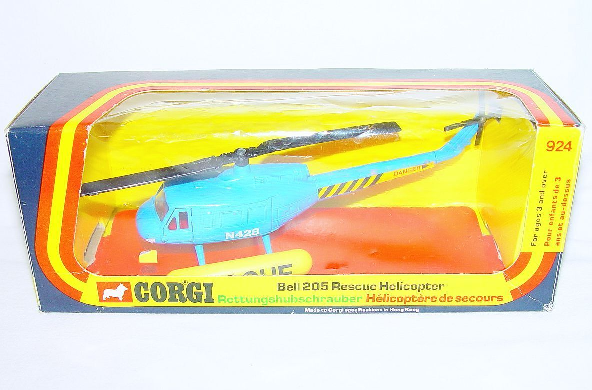 Corgi Toys 1 72 BELL 205 RESCUE HELICOPTER N428 bluee Airplane MIB`76 VERY RARE