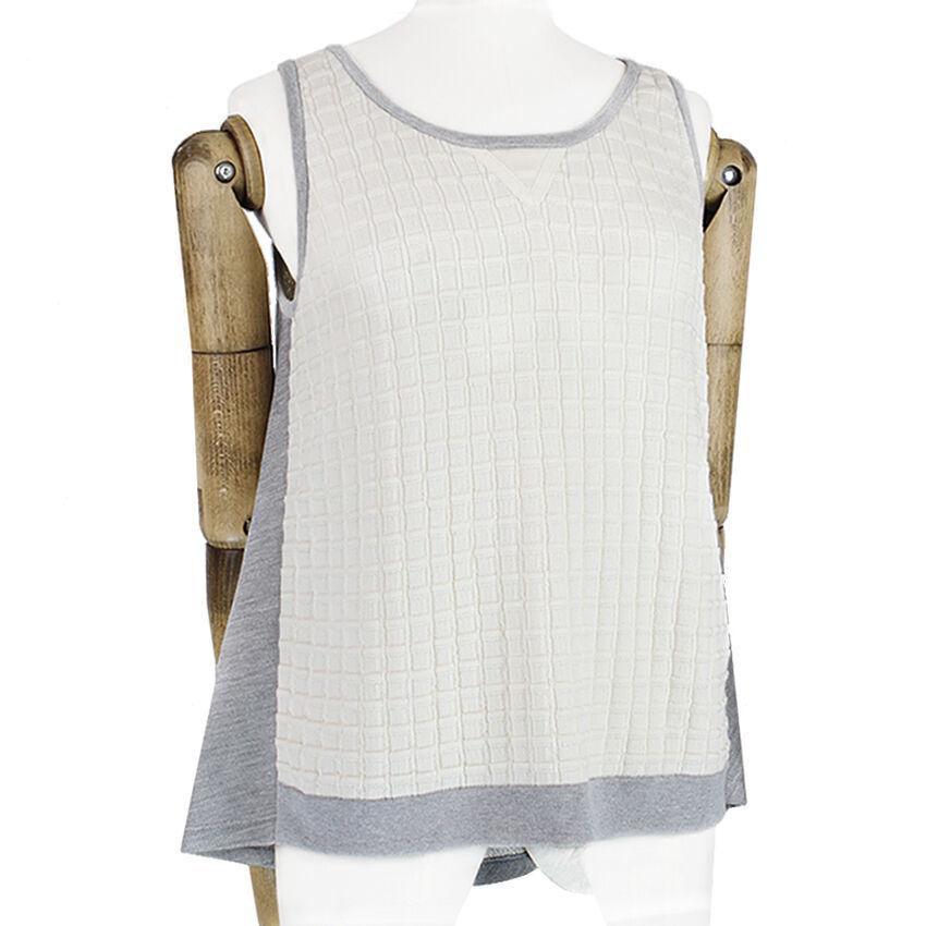 MRZ Cream grau Technical Knit Bias-Cut Floaty Back Tank Top Vest Knitwear M UK10