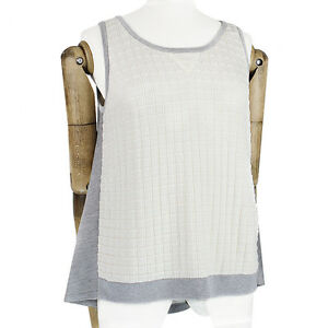 MRZ-Ivory-Grey-Technical-Knit-Bias-Cut-Jersey-Back-Tank-Top-Knitwear-L-UK12