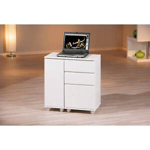 bureau meuble informatique ordinateur portable console rangement blanc brillant ebay. Black Bedroom Furniture Sets. Home Design Ideas
