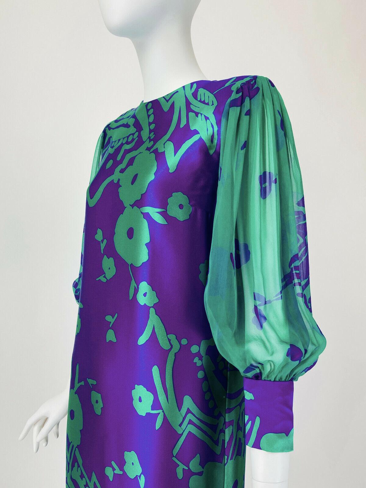 Designer Vintage 80s Silk Dress PAULINE TRIGERE S… - image 4