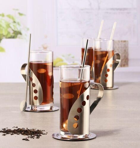 Tee 4 Gläser mit Edelstahlhalterung 4 Untersetzer 4 Löffel /& Grog-Set 12-tlg