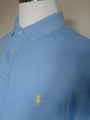 NWT Men's Ralph Lauren Short-Sleeve Polo Shirt, Blue Custom Fit, (XL) XTRA LARGE