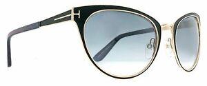 NWT Tom Ford Sunglasses Nina TF 373 01B Black Gold Gray Gradient ... 77996cbf2a