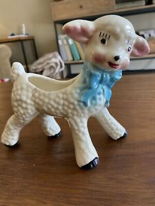 Vintage-Ceramic-Lamb-Planter-Blue-Now-Preowned-Kitsch