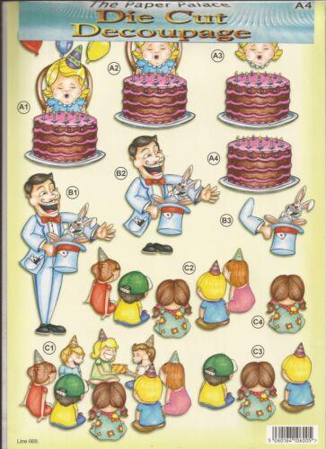 Childrens Party A4 Die Cut 3D Decoupage Sheet 051-669