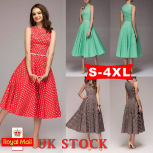 e8ffd4282b Free postage. Image is loading Women-1950-039-S-Vintage-Spotted-Swing-Dress-
