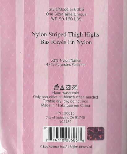 LEG AVENUE 6005 STOCKINGS NYLON STRIPED THIGH HIGHS BLACK YELLOW NEW