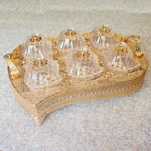 GOLD SILVER TRAY FRUIT DRY SERVING DRIED NUTS PLATE COMPARTMENT SNACK DISH LID