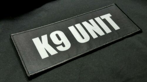 """K9 Unit 3x8/"""" Hook  Plate Carrier Raid Patch Security Police SWAT Sheriff Black"""