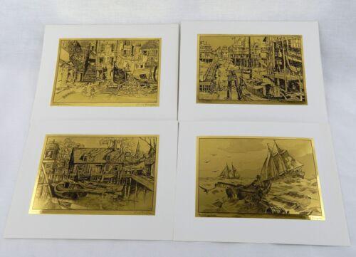 Vintage 1970/'s Lionel Barrymore Gold Foil Etch Print Set 247-112 Four Print Set
