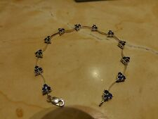 NEW 10k white gold natural blue sapphire bead floral curved bar link bracelet