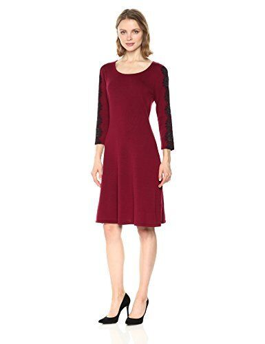 Nine West Woherren 3 4 Fit & Flare Dress with Lace  - Choose SZ Farbe