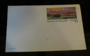 Details About Postal Card 15 Cent America The Beautiful Usa Buffalo Mountains
