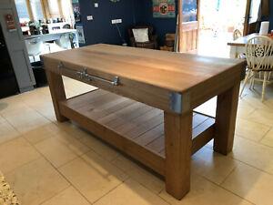 Large English Oak Butchers Block Kitchen Island Table Storage 6 Feet X 3 Feet Ebay