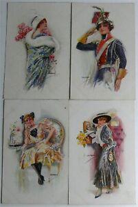 Lotto-di-18-Cartoline-Antiche-Illustratore-Usabal-1920-Non-Scritti